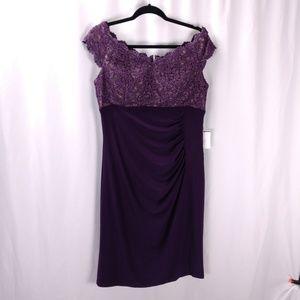 Xscape Lace and Jersey Sheath Dress